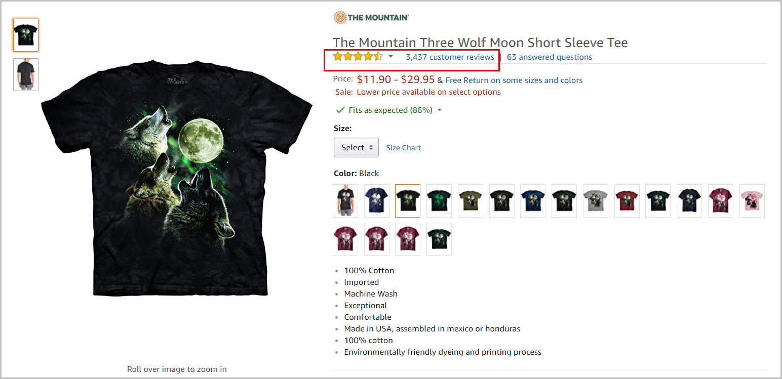 Three Wolf Moon t-shirt product detail page with 3,437 reviews on Amazon.com.