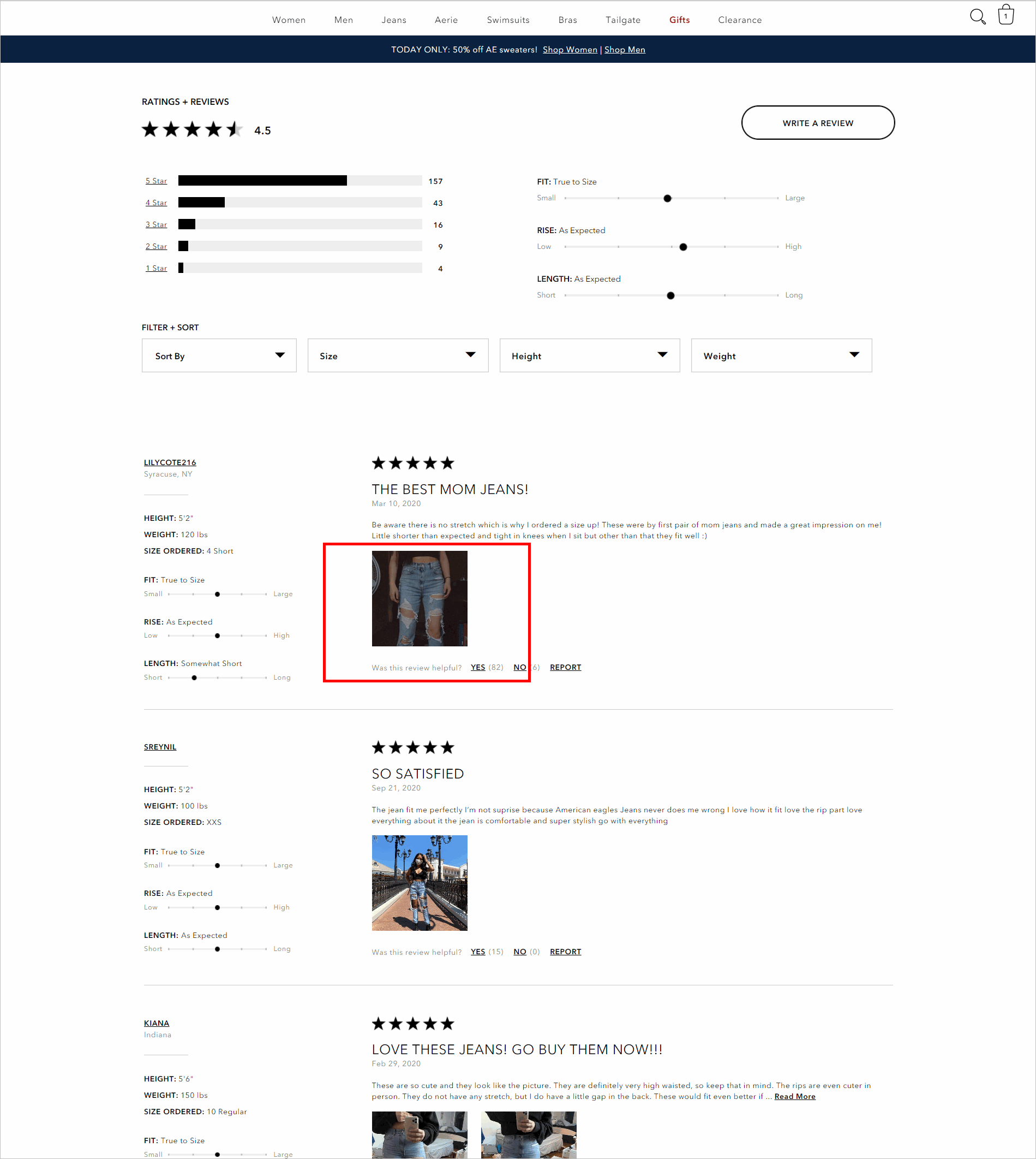 optimized ecommerce customer reviews example - reviews section of ae.com's product detail page allows shoppers to filter by size, height, and weight. reviews also include user-submitted images.