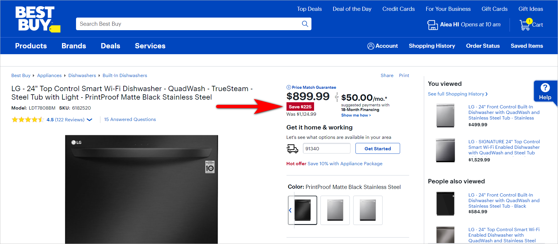 "the rule of 100 - big ticket item example: bestbuy.com product detail page for LG 24"" top control smart wifi dishwasher with a regular price of $1,124.99 and a sale price of $899.99. the pdp shows that the customer saves $225"