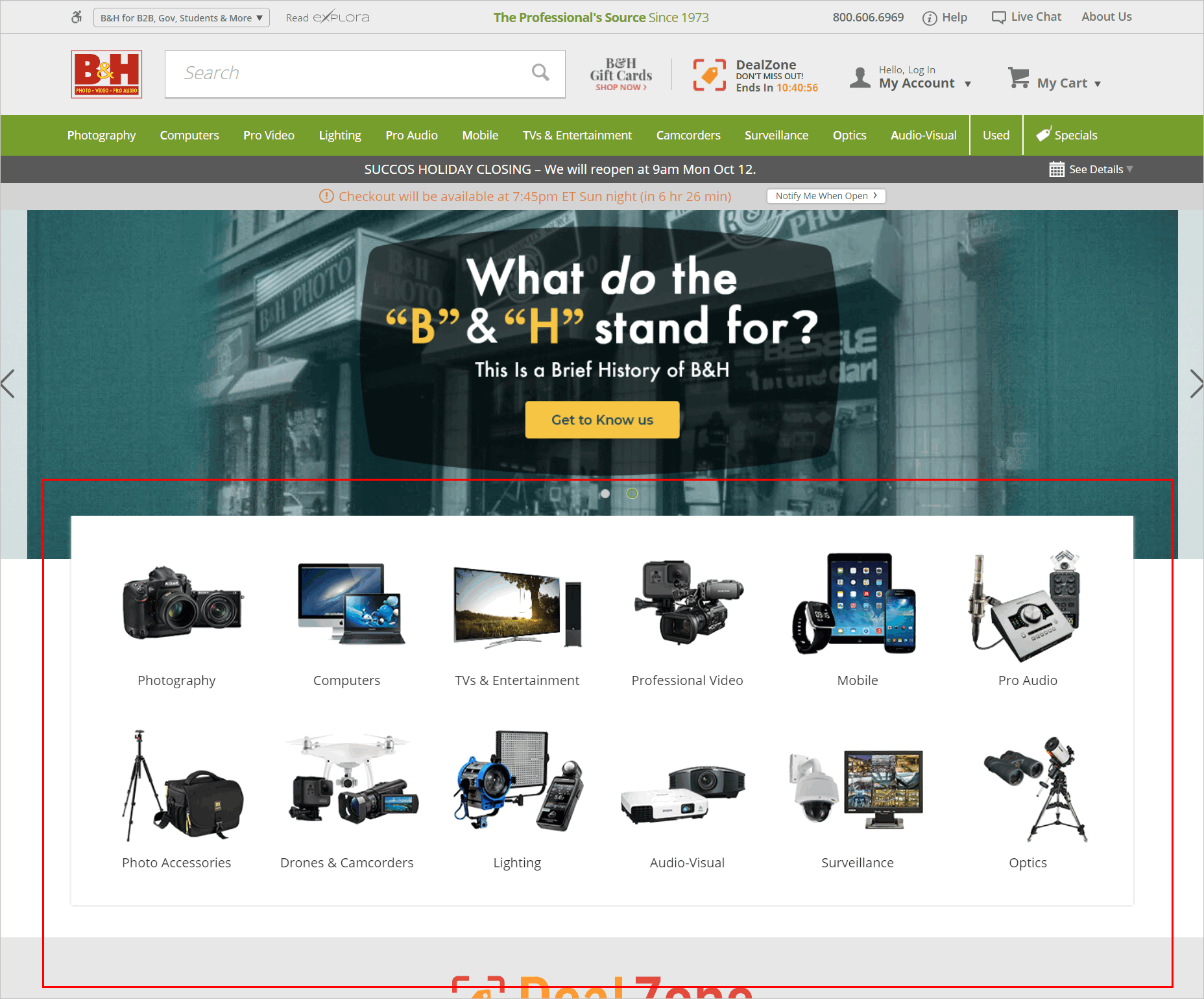 conversion rate optimization for e-commerce - good visual navigation example - bhphotovideo.com's homepage with composite images that represent different product categories