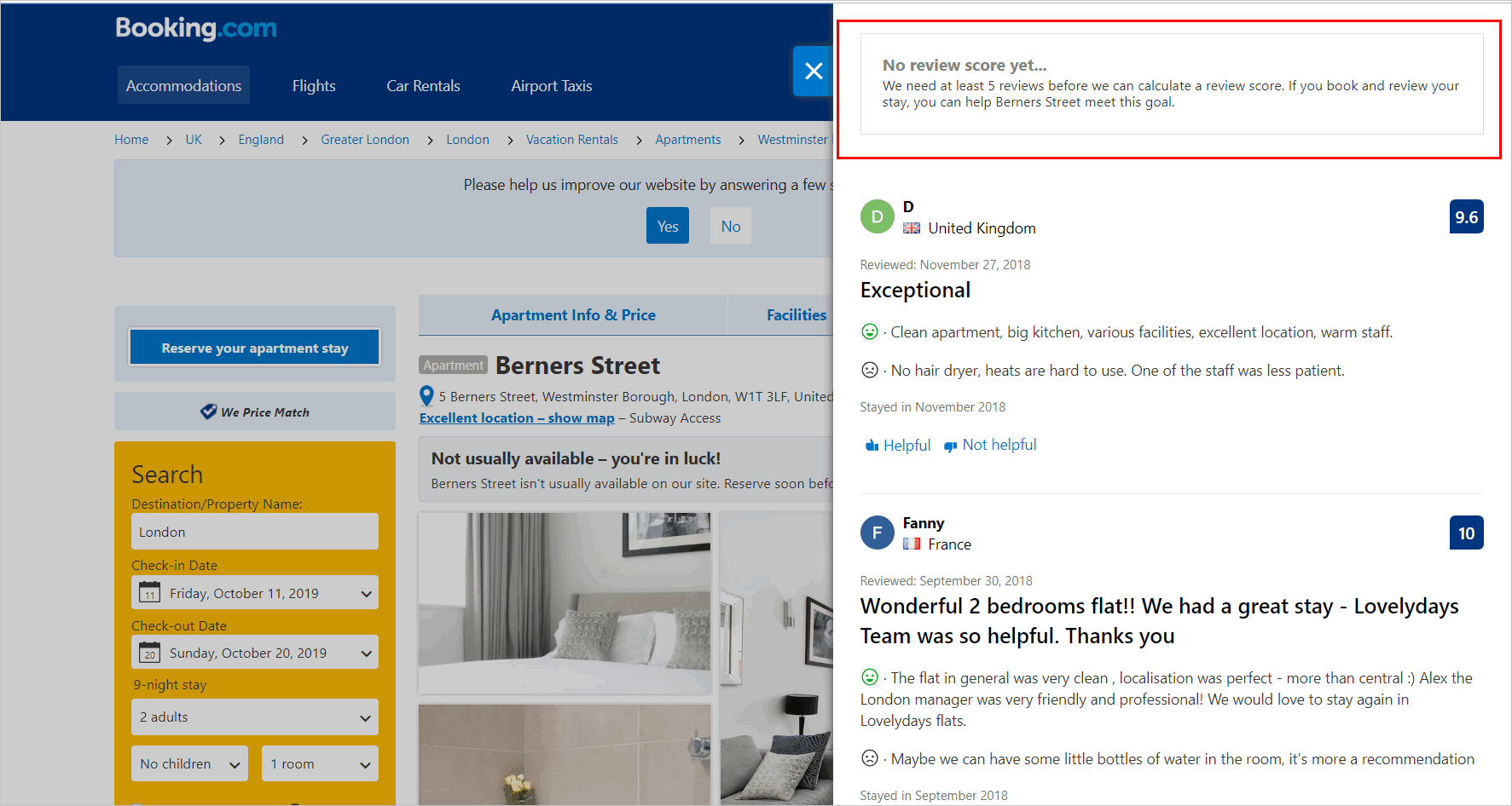 Booking.com's property detail page with message informing the user that the site does not display an average score unless the property has at least 5 reviews.