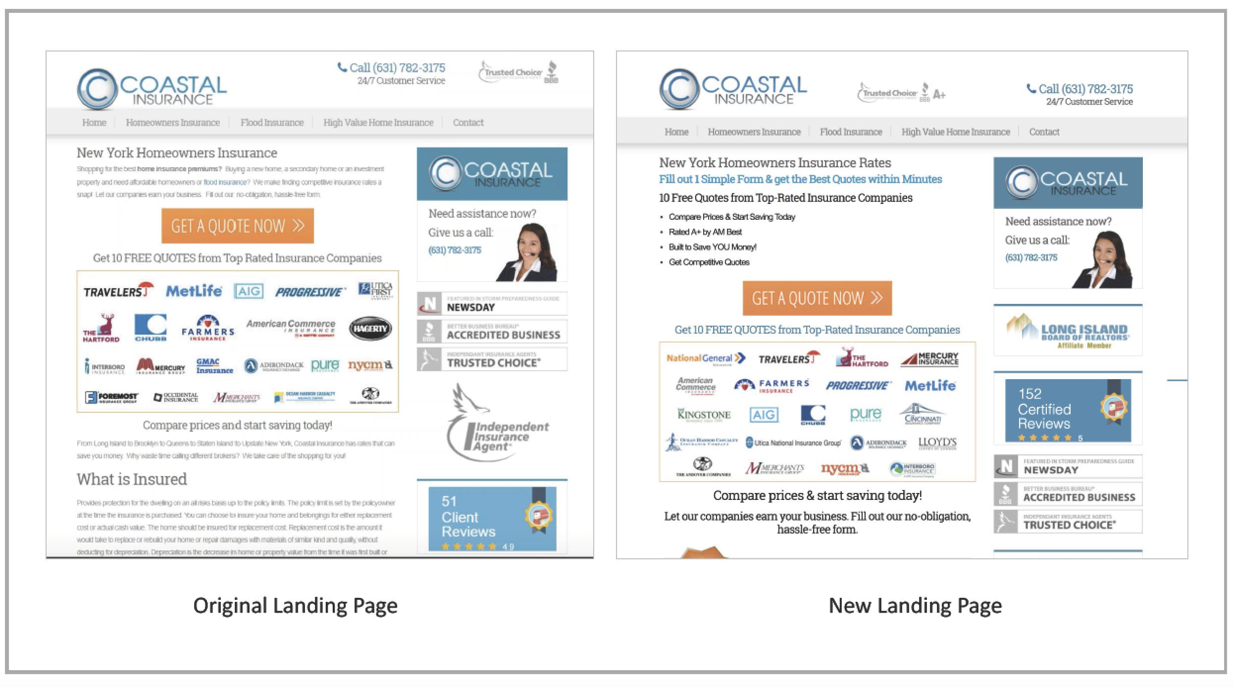 coastal-insurance-original-vs-new-landing-page