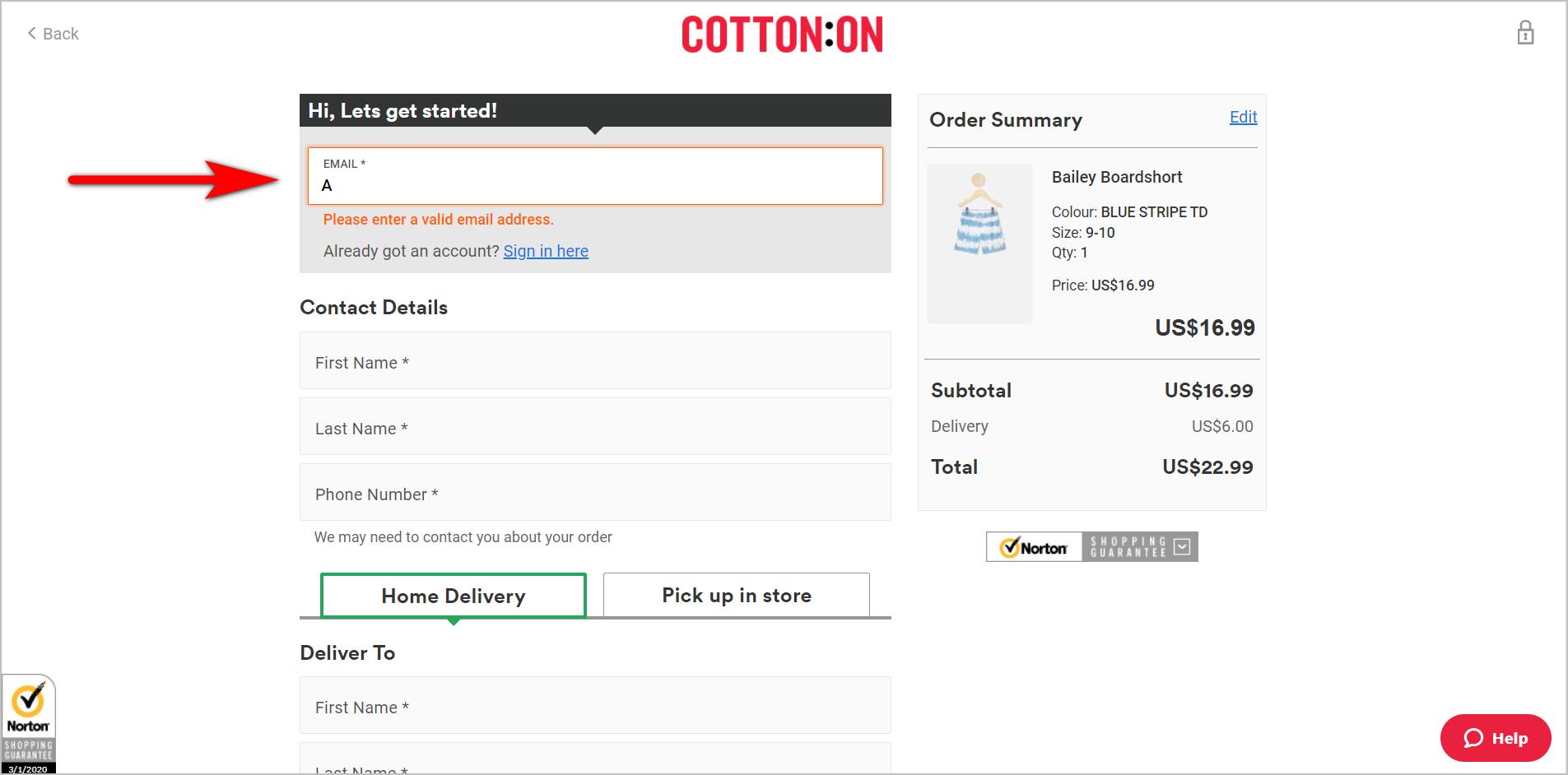"using form validation example - the top part of cotton.com's checkout page which asks for the user's e-mail address first. the e-mail address box has been filled in with an invalid e-mail address. the box has turned orange and tells the user ""please enter a valid email address"""