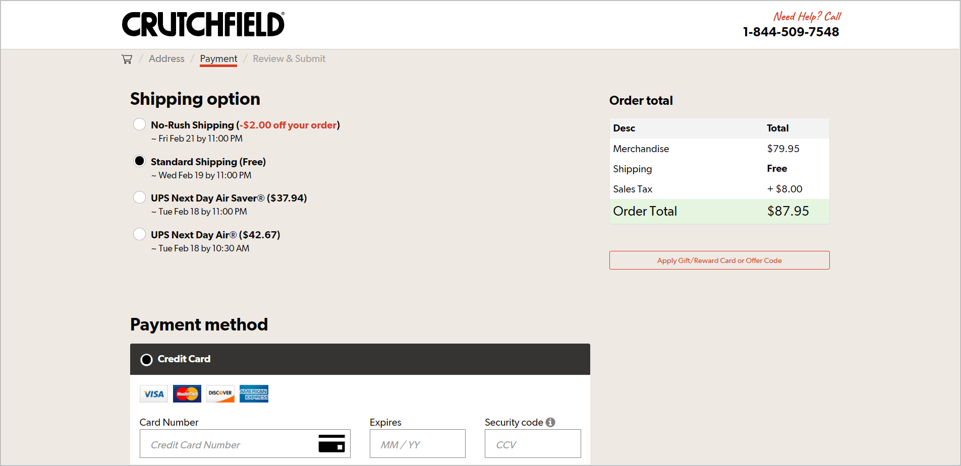"failure to leverage the customer's excitement in checkout example - crutchfield.com's payment page with the shipping options and payment methods listed on the left and the order total on the right side. the order total section shows the total for ""merchandise"" but does not show the product name nor the image"