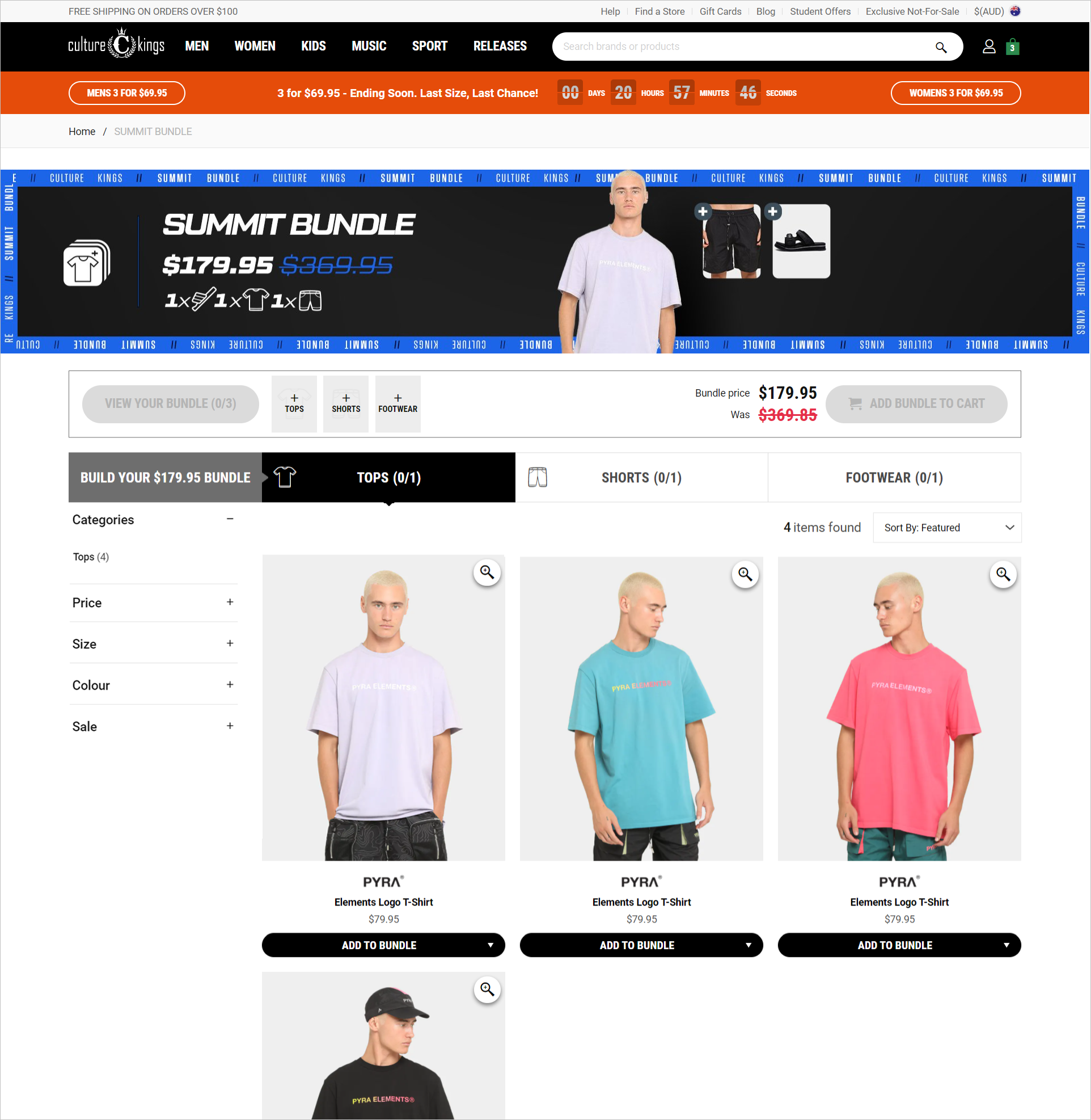 ecommerce bundled products example - culturekings.com.au's summit bundle page allows shoppers to shop an entire look by picking a pre-bundled set of products including a top, a pair of shorts, and a footwear