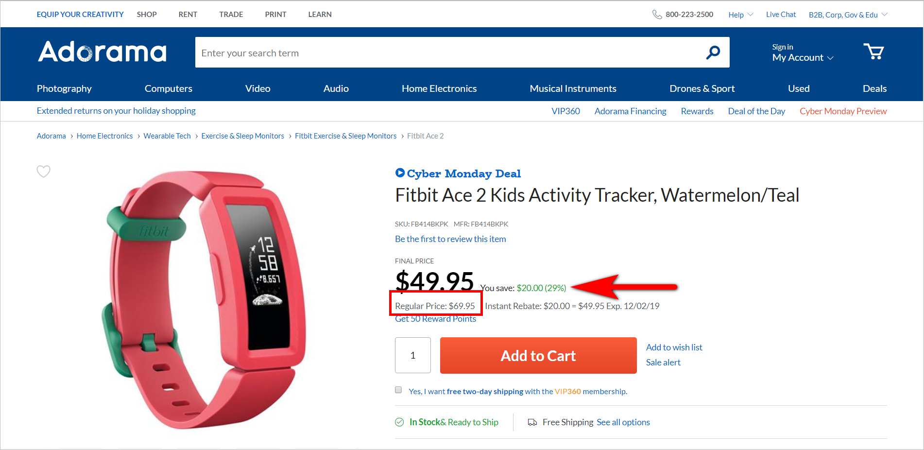 the rule of 100 example - adorama.com product detail page for fitbit ace 2 with a regular price of $69.95 and a sale price of $49.95. the pdp shows that the customer saves $20.00 or 29%
