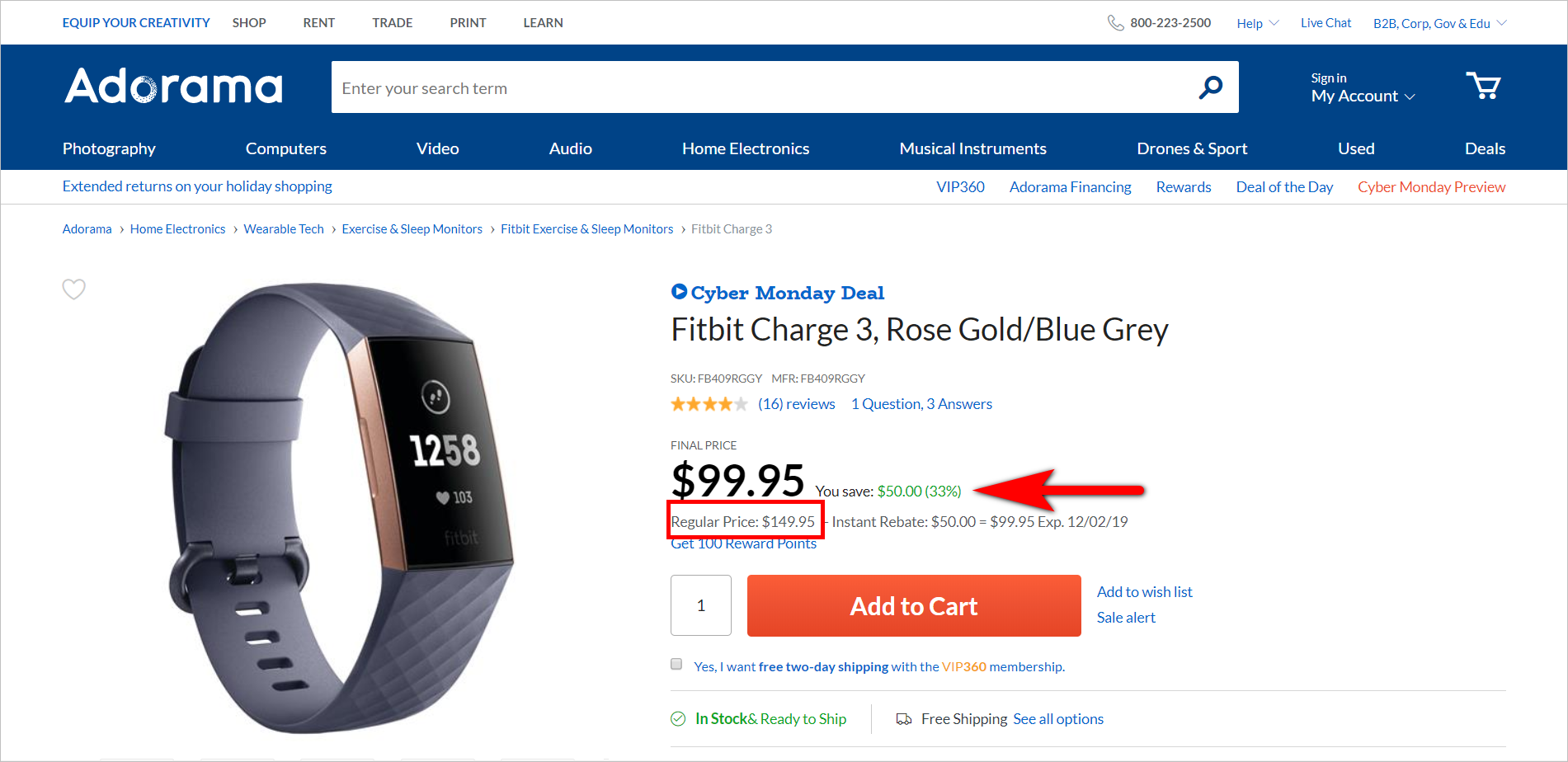 the rule of 100 - more than $100 example : adorama.com product detail page for fitbit charge 3 with a regular price of $149.95 and a sale price of $99.95. the pdp shows that the customer saves $50.00 or 33%