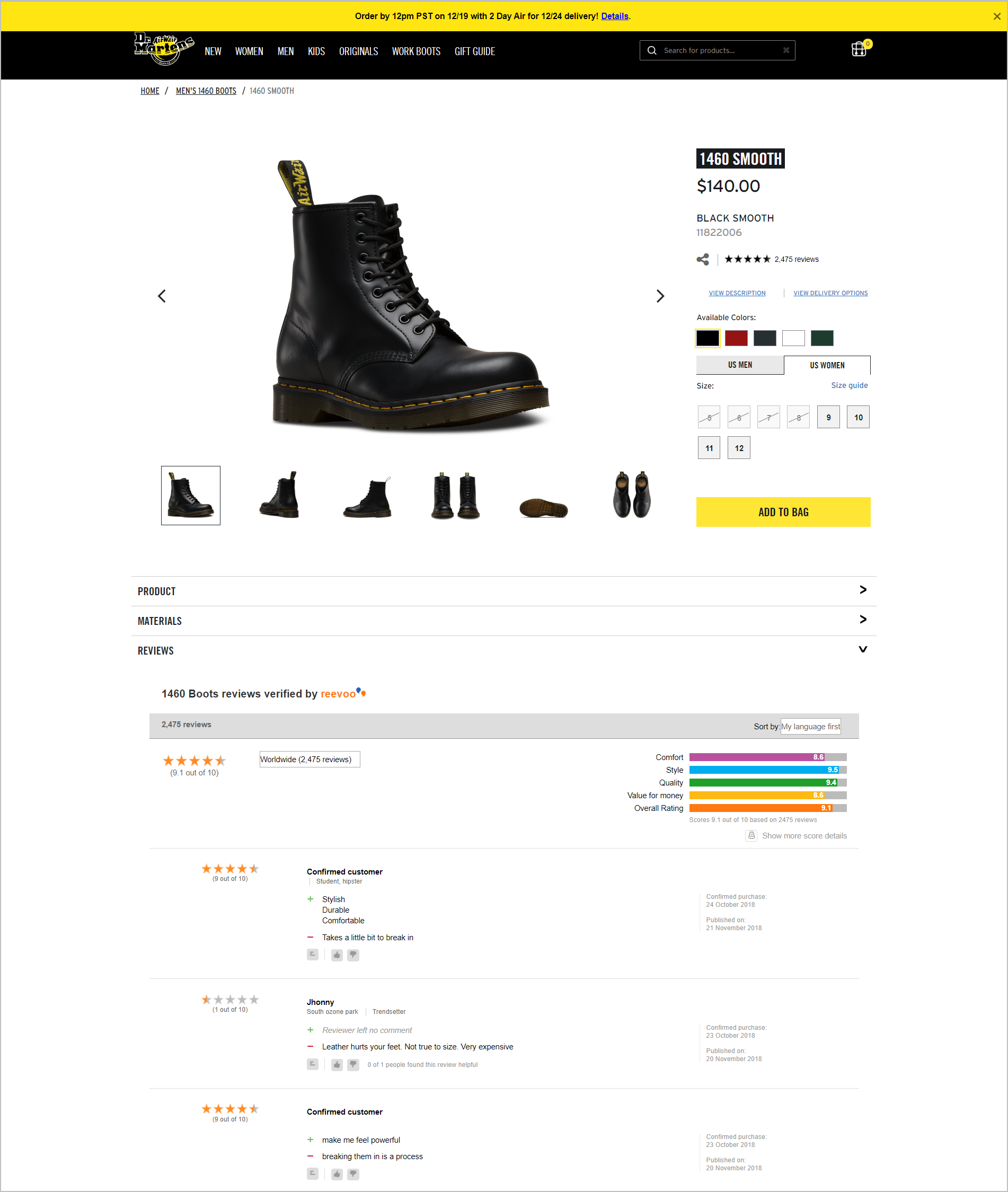 DrMartens.com's product detail page with reviews from Reevoo.