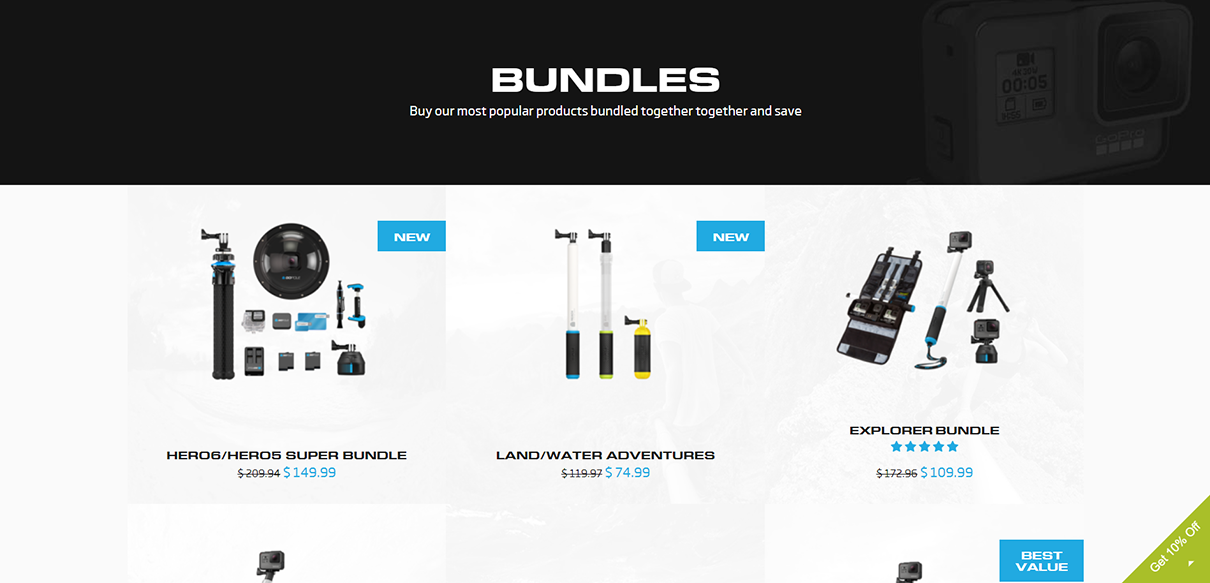 tips to increase average order value - bundling products example - gopole.com's bundle category page has a collage of products for each bundle. each bundle indicates the total savings as a percentage. the original price has a strikethrough and the new discounted price is beside it