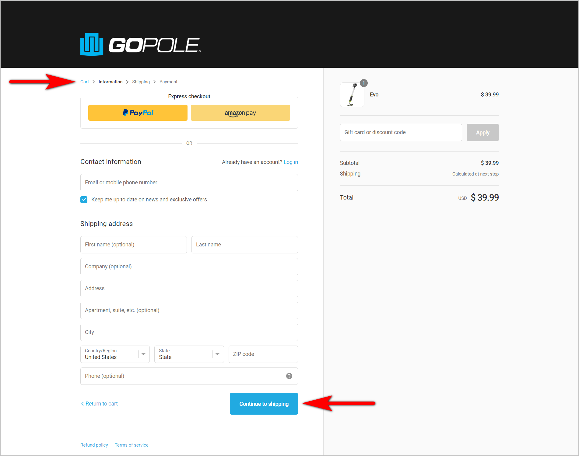 "ecommerce checkout best practices - setting user expectations example - gopole.com's checkout page with the checkout steps laid out in small text at the top and a ""continue to shipping"" cta button at the bottom of the page"