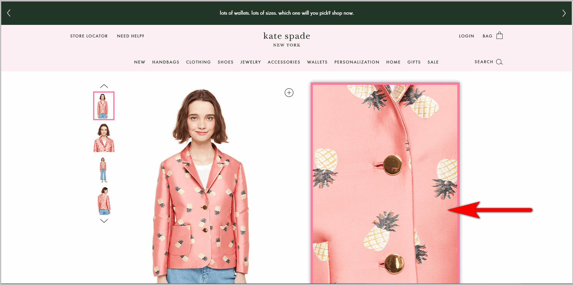 covering the CTA block example - katespade.com pdp's action block gets covered by a modal when the user zooms in on the image