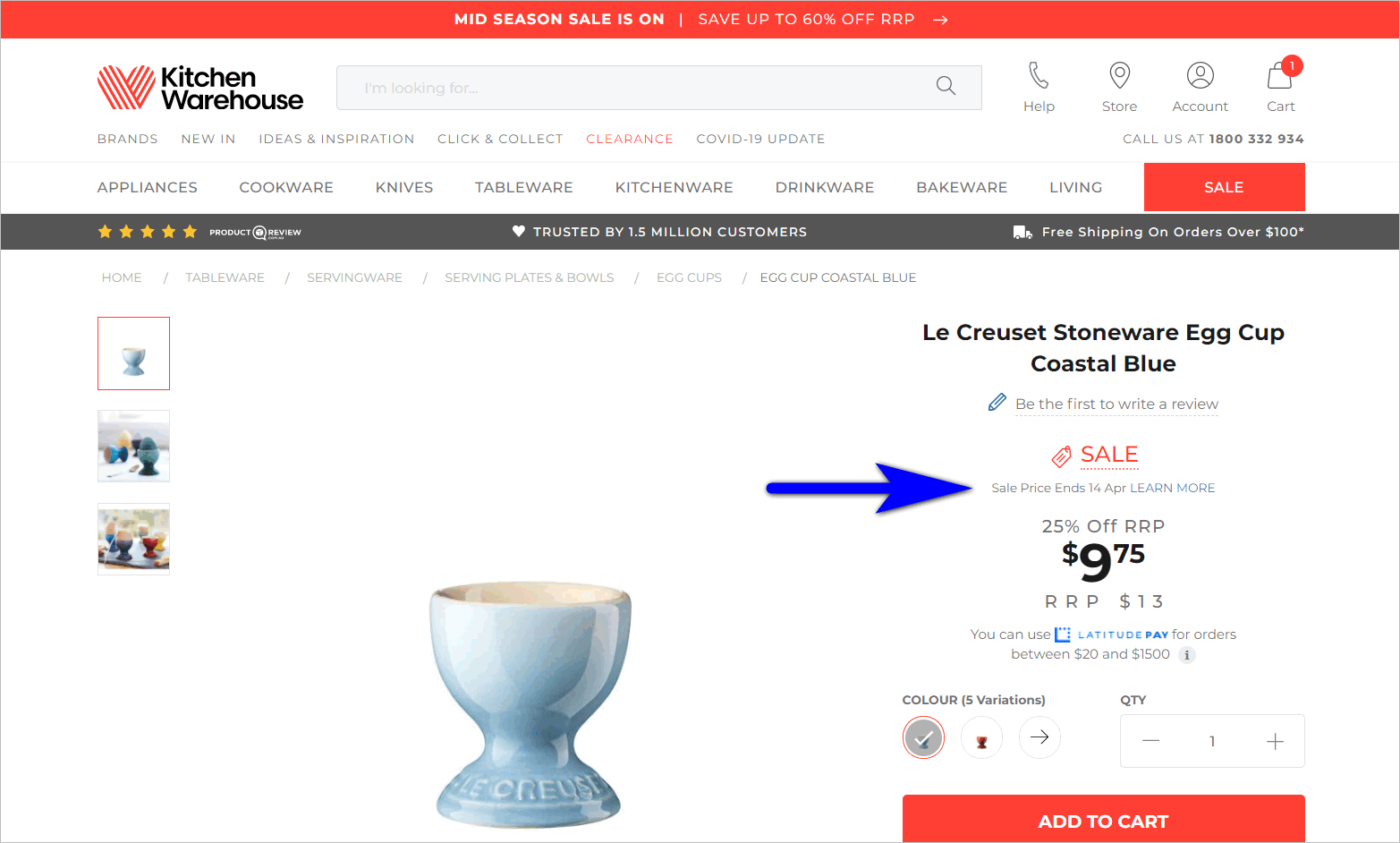 limited time offer example - kitchenwarehouse.com.au's product detail page for an item on sale shows the original price, the sale price, and the sale price end date
