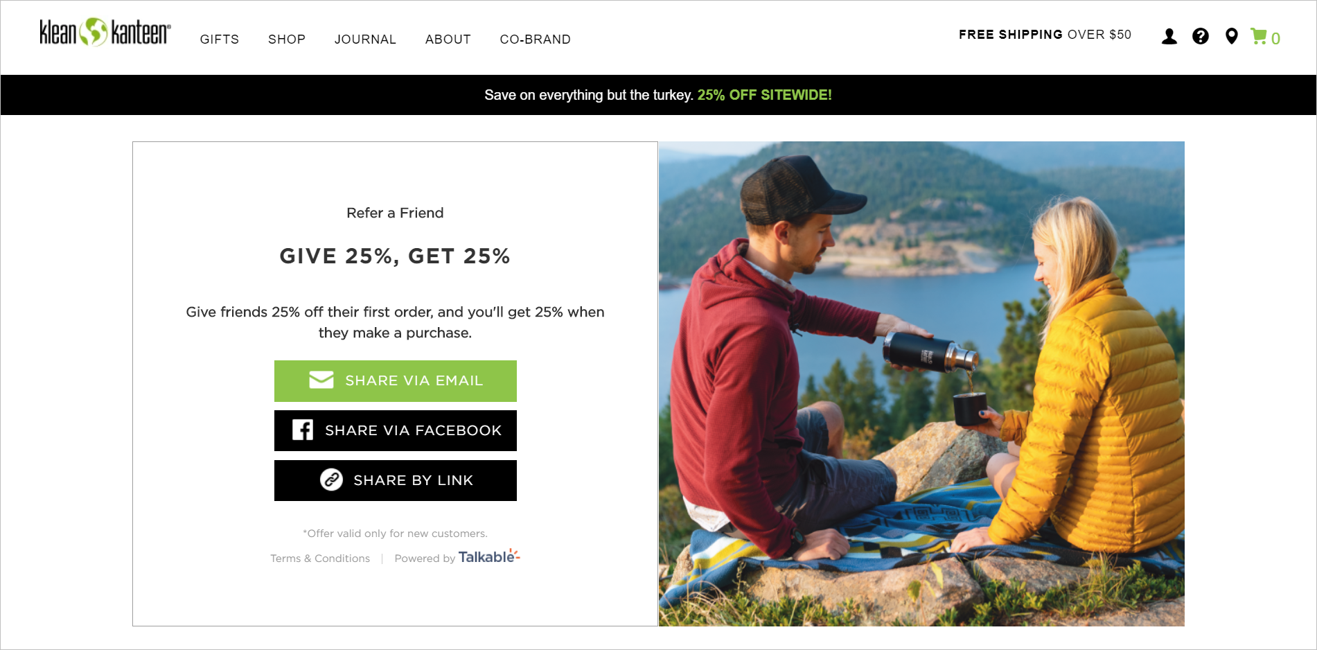 discount pricing strategies- kleankanteen.com referral page tells visitors that they can give their friends 25% off their first order and the visitor gets 25% when a friend makes a purchase