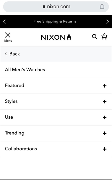 mobile ux best practice - nixon.com's mobile homepage with the hamburger menu expanded