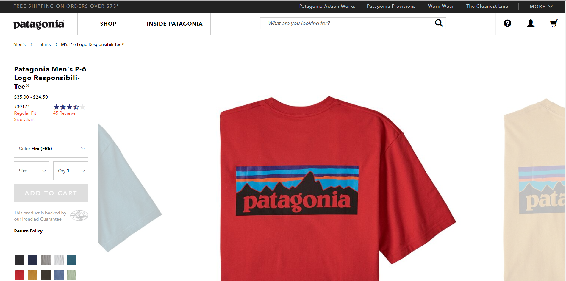 trendy web design pitfalls - deviation from web conventions example - patagonia's product detail page with the action block on the left and the product image on the right