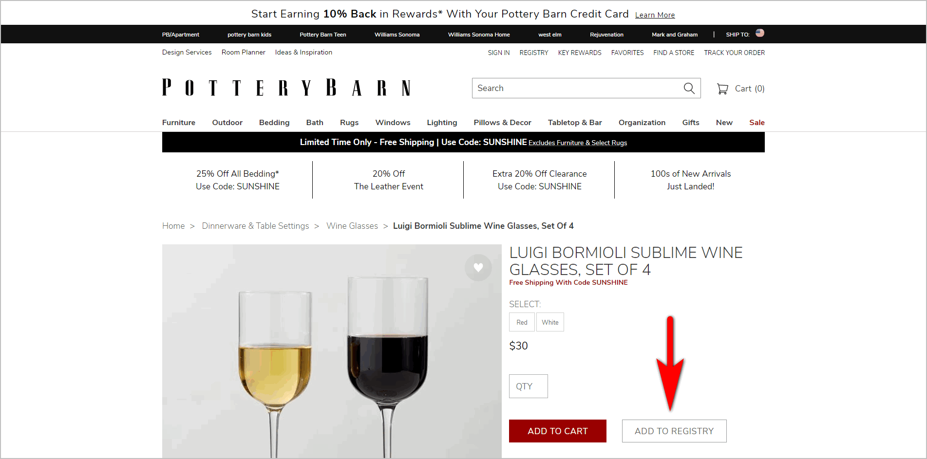"demoting a secondary cta example -pottery barn creates visual hierarchy on their pdp by putting ""add to registry"" in ghost button, making it secondary to the red ""add to cart"" button"