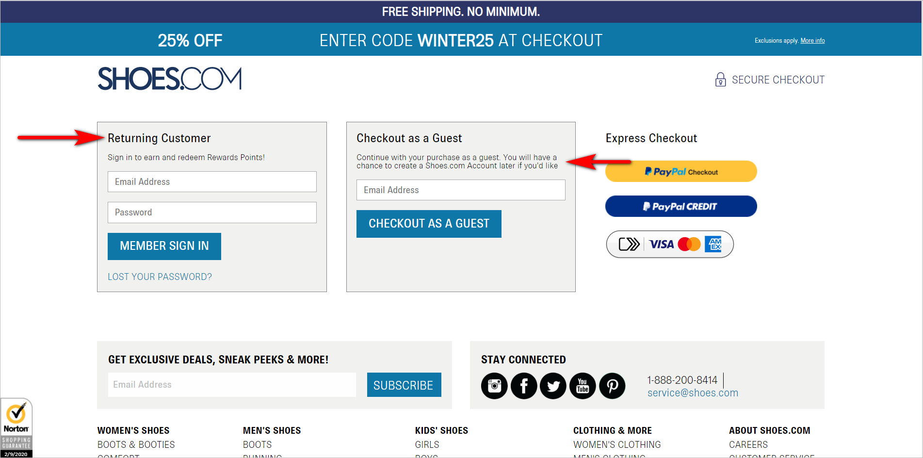 ecommerce checkout best practices - allowing guest checkout example - shoes.com checkout with login option for returning customers and an e-mail address field for guest checkout