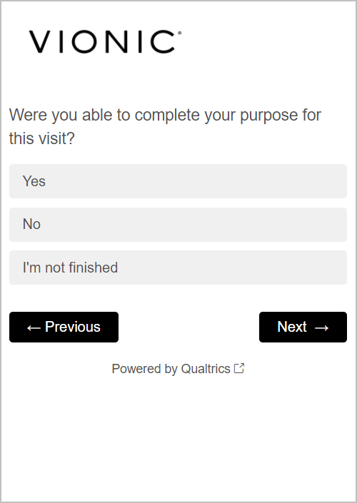 best website survey questions - vionicshoes.com's version of question 3 - were you able to complete your purpose for this visit?