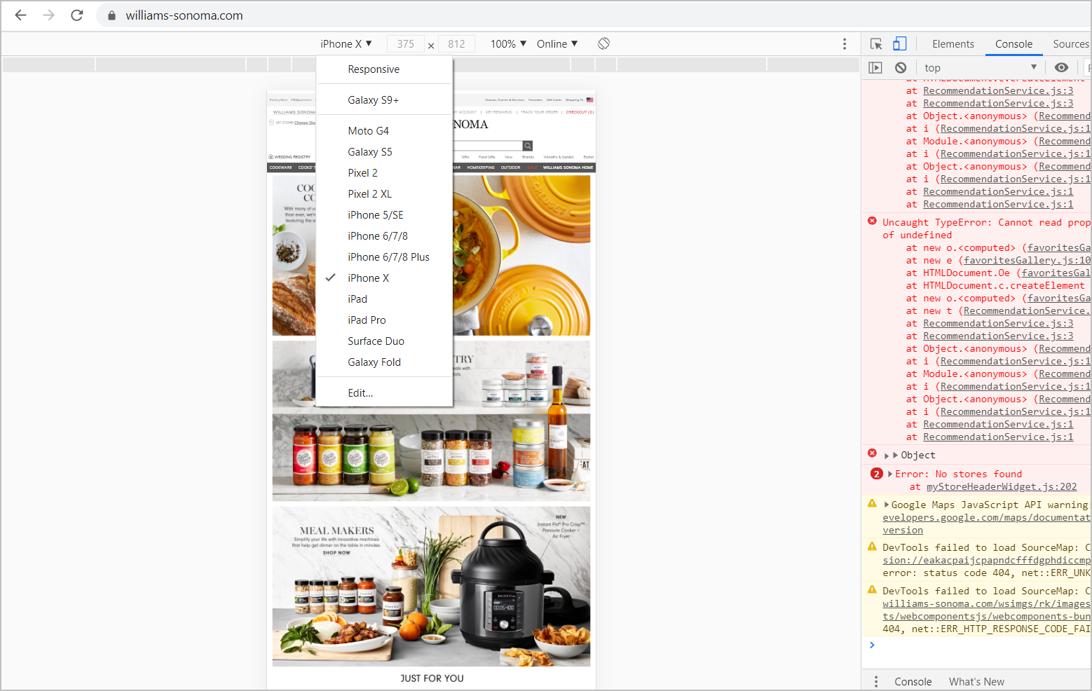 williams-sonoma.com's homepage viewed through chrome's devtool device mode as a mobile page