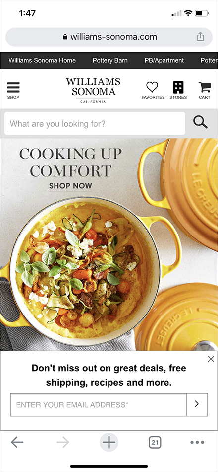 mobile experience best practice example - williams sonoma's mobile homepage above-the-fold content